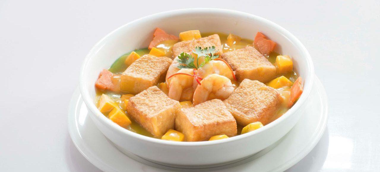 Braised homemade tofu & pumpkin
